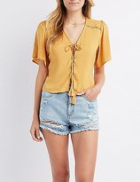 Charlotte Russe Crochet-Inset Lace-Up Top