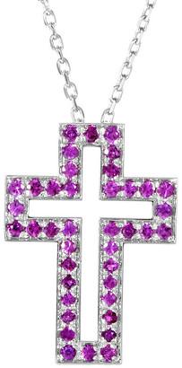 Boucheron Heritage  18K 0.25 Ct. Tw. Ruby Cross Necklace