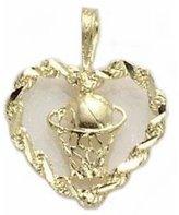 FindingKing 14K Gold BASKETBALL & HOOP IN ROPE HEART Jewelry