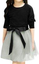 uxcell® Girls Raglan Sleeves Tee Shirt w Belted Organza Skirt Sets