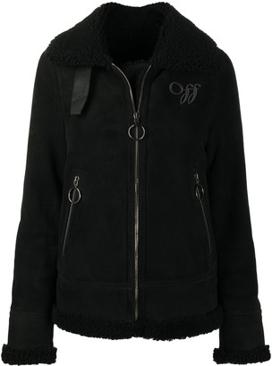 Off-White Embroidered Logo Shearling Jacket