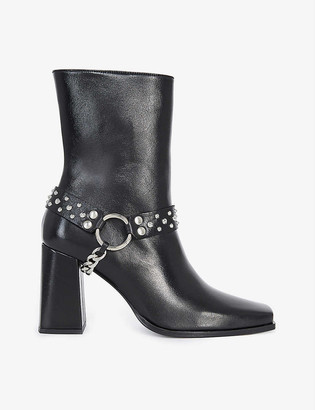 The Kooples Chain-strap embellished leather ankle boots
