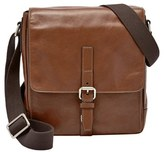Fossil Men's 'Davis' Leather Messenger Bag - Metallic