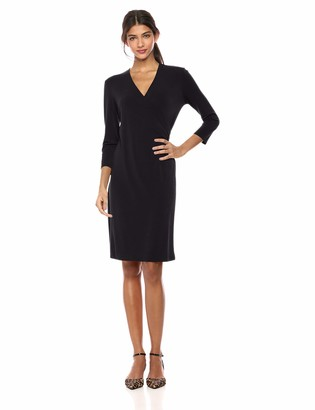 Lark & Ro Crepe Knit Faux Wrap Dress Black US 8 (EU M)
