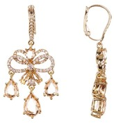Jenny Packham Layered Pave Bow Chandelier Drop Earrings