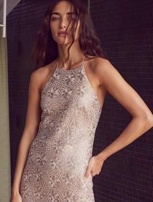 Halston Minimal Metallic Embroidered Gown