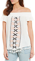 Takara Embroidered Tassel-Trim Smocked Off-The-Shoulder Top