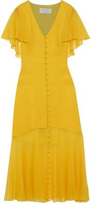Prabal Gurung Fluted Chiffon-paneled Silk-crepe Midi Dress
