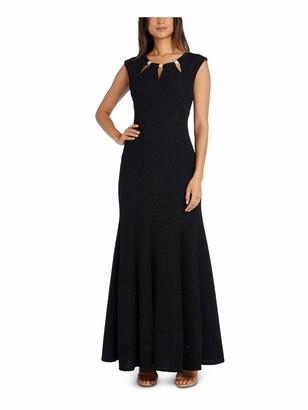 R & M Richards R&M Richards Womens Black Glitter Embellished Zippered Cap Sleeve Keyhole Maxi Mermaid Formal Dress UK Size:12