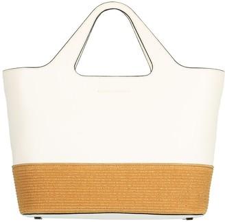 Brunello Cucinelli Leather and Raffia Zip Top Shopper Tote
