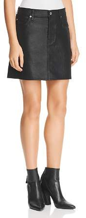 7 For All Mankind Coated Denim Mini Skirt in Black