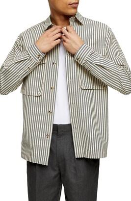 Topman Stripe Oversize Button-Up Shirt