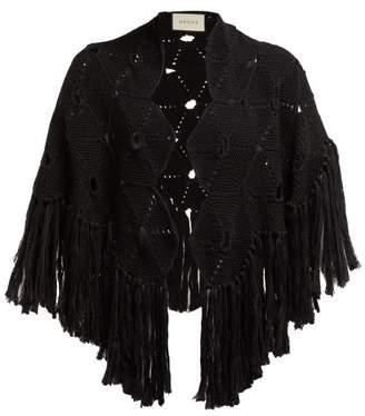 Gucci Tasselled Crochet Wool Cape - Womens - Black