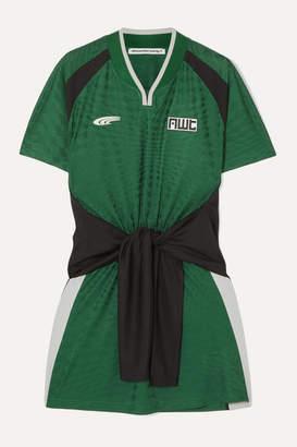 Alexander Wang Tie-detailed Jacquard-knit Mini Dress - Green