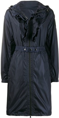 Moncler Ruffle-Placket Hooded Coat