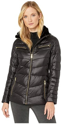 Lauren Ralph Lauren Polyfill Jacket w/ Metal (Black) Women's Clothing