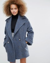 Helene Berman Tessa Coat in Gray and Blue Wool