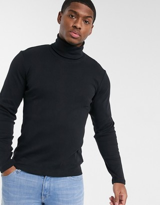 Esprit organic roll neck jumper in black