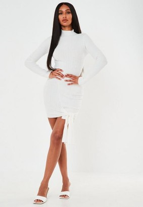 Missguided White Rib High Neck Tie Front Mini Dress