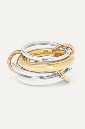 Spinelli Kilcollin Cici Set Of Four 18-karat Yellow And Rose Gold And Sterling Silver Rings