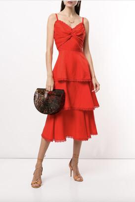 Marchesa Notte Sleeveless Printed Linen 3-Tiered Midi Dress