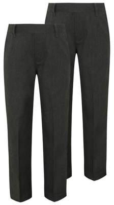 George Boys Grey Plus Fit Half Elastic School Trouser 2 Pack