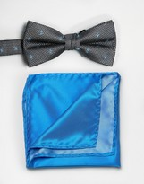 Selected Black Spot Bow Tie with Blue Pocket Square