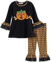 Bonnie Jean Toddler Girl Halloween Pumpkin Top & Candy Corn Leggings Set