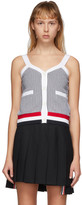 Thom Browne Navy and White Seersucker V-Neck Tank Top