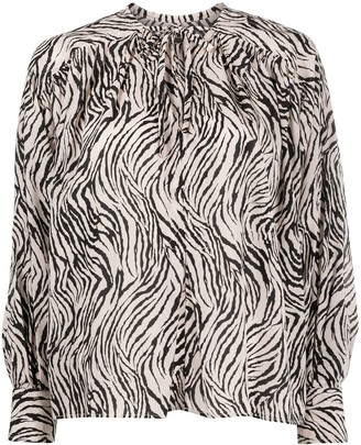 Isabel Marant Zebra Print Silk Mix Blouse