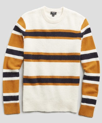 Todd Snyder Color Block Stripe Alpaca Wool Sweater in Ivory