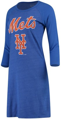 Majestic Women's Threads Royal New York Mets Tri-Blend 3/4-Sleeve Raglan Dress