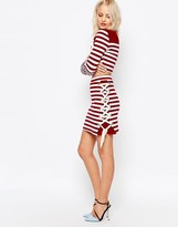 House of Holland Striped Side Lacing Skirt
