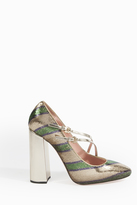 Rochas Striped Sequin Mary Jane Pumps