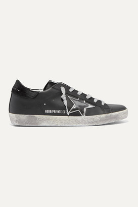 Golden Goose Superstar Metallic Distressed Leather And Suede Sneakers - Black