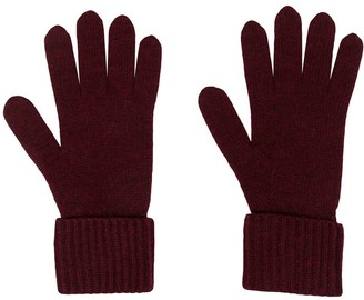 N.Peal Ribbed-Trim Cashmere Gloves