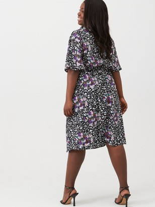 V By Very Curve Print Wrap Kimono Sleeve Dress - Floral