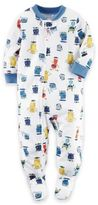 Carter's Zip-Front Aliens Footed Pajama in White
