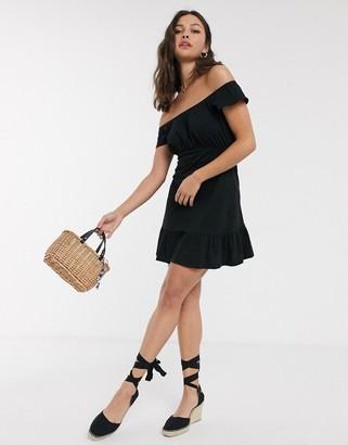 Asos DESIGN off shoulder mini sundress with pep hem in black