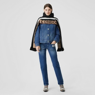 Burberry Logo Applique Reconstructed Denim Jacket