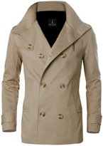 Tom's Ware Mens Premium Cotton Wide Collar Neck with Double Buttoned Jacket TWCJ08-09-BEIGE-S (US XS)
