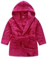 Evebright Kids Girl Red Hooded Soft Plush Long-sleeved Bathrobe Age 4-9