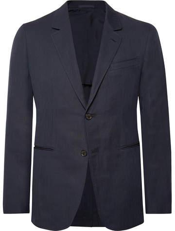 Caruso Midnight-Blue Slim-Fit Unstructured Herringbone Cotton And Linen-Blend Blazer