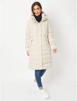 George Cream High Neck Longline Padded Coat