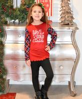 Beary Basics Red 'Baby It's Cold Outside' Tee & Leggings - Toddler & Girls