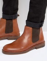 Asos Chelsea Boots In Tan Leather With Natural Sole