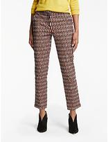 Boden Richmond 7/8 Crescent Geo Trousers, Autumn Brown