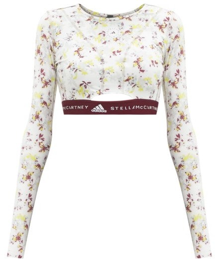 Thumbnail for your product : adidas by Stella McCartney Future Playground Recycled-fibre Blend Cropped Top - White Multi