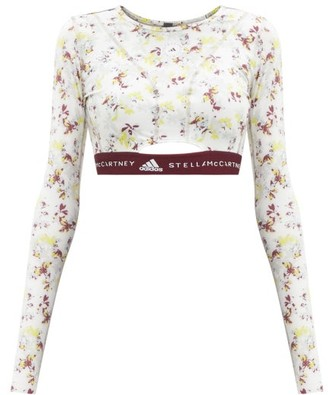 adidas by Stella McCartney Future Playground Recycled-fibre Blend Cropped Top - White Multi