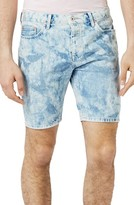 Topman Men's Slim Fit Bleached Denim Shorts